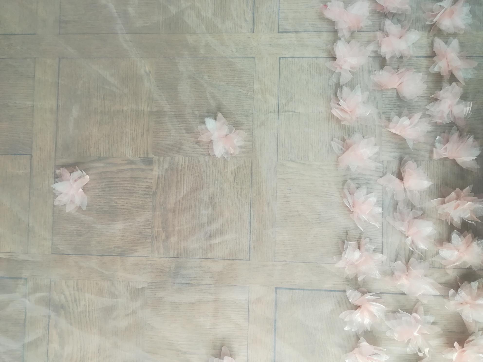 organza brillant fleurs 3D
